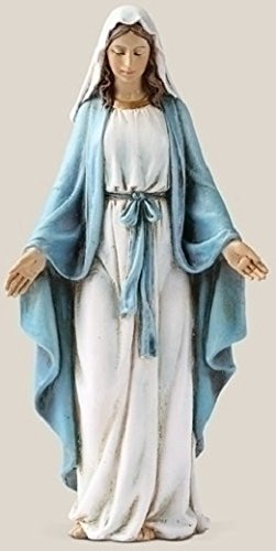 Our Lady of Grace Blue White 6 inch Resin Stoneware Tabletop Figurine Statue