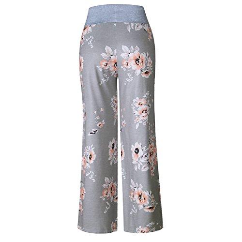 Eté Floral 0486 D'intérieur Jogging Pyjama Taille Pants Elastique Large Sport Décontracté De Grande Détente Pantalon Imprimé Jambe Yoga Gris Femme UzWqIBnn
