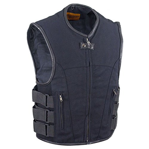 Ultimate Leather Apparel Mens Canvas Motorcycle Vest With Two Gun Pockets (XL, -