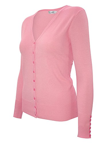 Cielo Women's Classic Knit Silk Soft Cardigan Sweater, V-neck (Extra Large, SW205 Baby Pink)