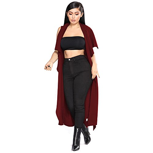 YKA 2018 Women's Fashion Casual Open Front Cape Sleeveless Solid Trench Duster Coat Longline Blazer by YKA (Image #7)