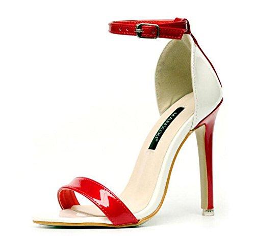 Court Red Sandali con Lotta Word tacco alto Cinturino estate di GLTER nuovo donne Shoes fibbia in pompe di punta di aperte TqRWWUwC4