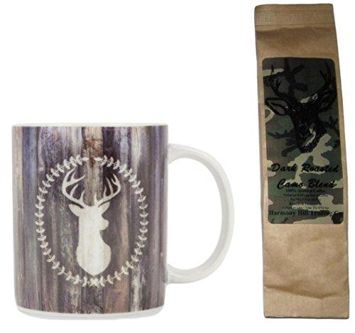 (Rustic Wood Look with Deer Head Coffee Mug with Camo Blend Coffee Gift Set Bundle (2 Items))