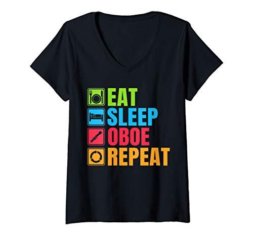 Womens Funny Oboe Gift Eat Sleep Oboe Repeat V-Neck -
