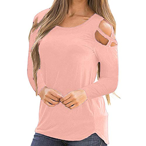 Pleated Necktie Silk (Sunhusing Ladies Solid Color Off Shoulder Cross Strap Long Sleeve Top Casual O-Neck Pullover)
