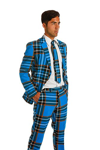 [The Highlander Blue Paid Men's Suit by OppoSuits - Individual Jacket, Pants, or Tie, Blue Plaid, Jacket - Highlander Blue Plaid /] (Tuxedo Mask Costume Sale)