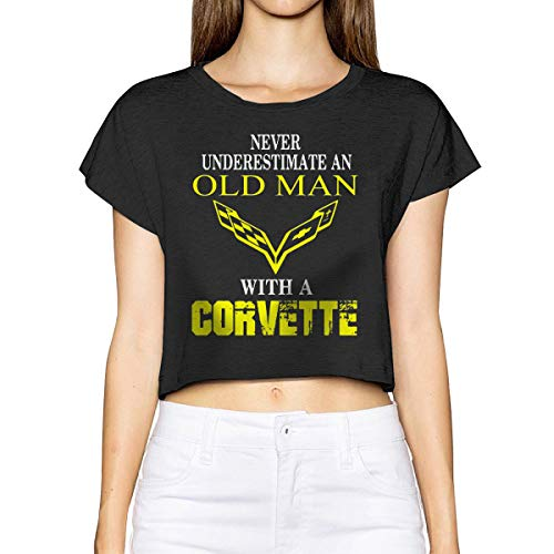 (Elainely Women Crop Top,Never Underestimate an Old Man with A Corvette  Vintage Short Sleeve T Shirt Tee Black M)