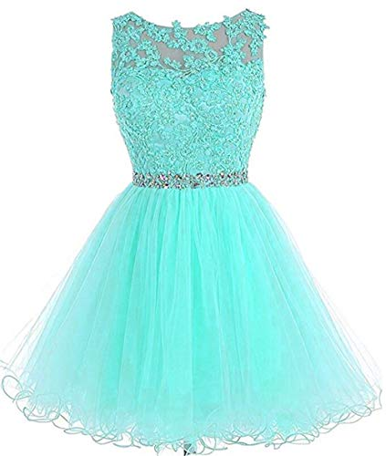 Dydsz Prom Dress Party Homecoming Dresses Short for Women Juniors Cocktail Gown Beaded D126 Turquoise 2