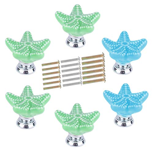 (CHICTRY Lovely Starfish Shape Ceramic Drawer Knobs DIY Decorative Kids Girl Room Pulls Handles with Screws for Cupboard Wardrobe Cabinet Furniture Door Green&Sky Blue One Size)