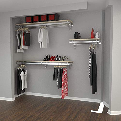 "Arrange A Space RCLBY Premium Two 48"" and One 32"" Shelf/Hang Rod Kits Maple Closet System 80"","