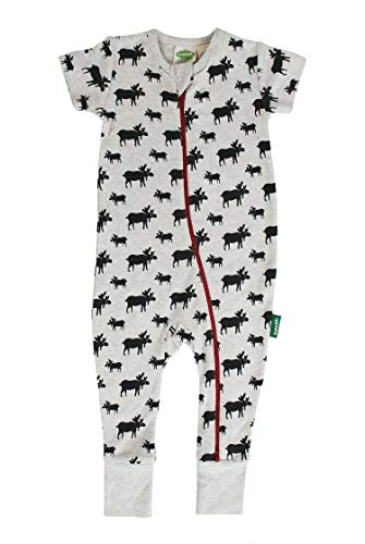 Parade Organics Signature Print '2-Way' Zip Romper - Short Sleeve Grey Moose ()