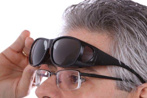 LensCovers Sunglasses Wear Over Prescription Glasses - Medium Size Polarized (Black) Polarized