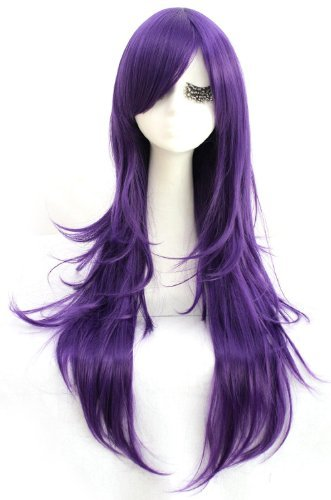 [New! Synthetic 80cm Long Dark Purple Straight Cosplay Hair Wig Cw109e] (League Of Legends Annie Cosplay Costume)