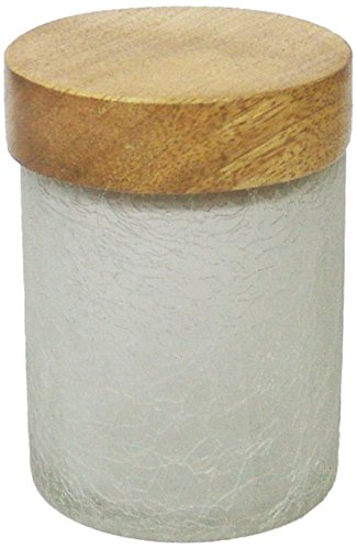 nu steel Smoke GC-54S Frosted Crackle Small W/Wooden LID, Bathroom Vanity Glass Storage Organiser Canister Apothecary Jars for Cotton Swabs, Rounds, Balls, Makeup Sponges
