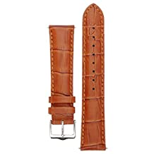 Signature Senator watch band. Replacement watch strap. Genuine Leather. Silver buckle. (Gold, 22 mm - short)