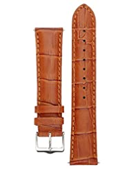 Signature Senator watch band. Replacement watch strap. Genuine Leather. Silver buckle. (Gold, 21 mm)