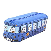 Cartoon Bus Canvas Pencil Case, Large Capacity Pen Stationery Pouch Bag, Novelty Kawaii School Storage Case for Kids Boys and Girls, Blue