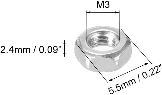 M3x0.5mm Metric Coarse Thread Hexagon Nut Stainless Steel 304 sourcing map Hex Nuts Pack of 20