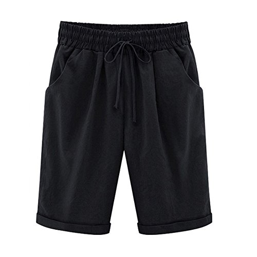 ONLY TOP Women's Casual Shorts with Elastic Waist Drawstring Black