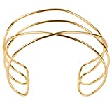 TQS Abstract Line Choker Sculptural Cuff Style Outline Hollow Choker Plated Gold Necklace