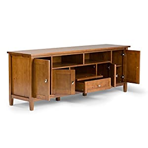 "Simpli Home Warm Shaker Solid Wood 72"" TV Media Stand, Honey Brown"