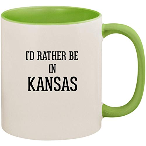 I'd Rather Be In KANSAS - 11oz Ceramic Colored Inside and Handle Coffee Mug Cup, Light Green