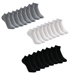 Caudblor Lot de 12 Paires de Chaussettes Taille Unique pour Femme et Homme, Noir/blanc/Gris