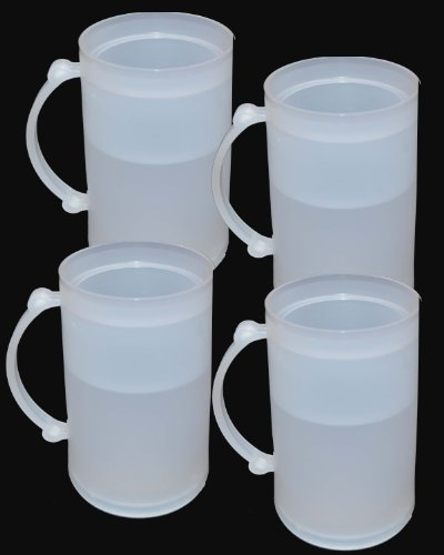 (Set of 4 Double Wall Frosty Freezer Cold Mugs - 16-oz. White Color)