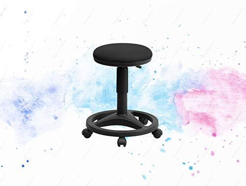 GUPLUS-Black Ergonomic Stool with Foot Ring Backless Stool Black Fabric Upholstery Pre-Assembled Control Accordion Cylinder Cover Swivel Seat Pneumatic Seat Height Adjustment Heavy Duty Circular Base