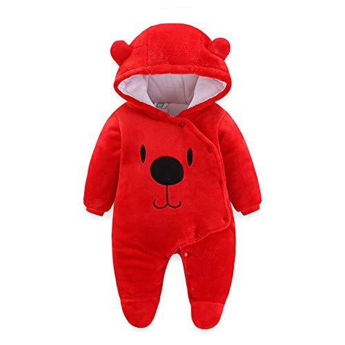 (Fairy Baby Newborn Baby Warm Bear Footie Romper Thick Fleece Jumpsuit Winter Outerwear Size 0-3M (Red) )