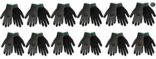 Tsunami Grip 500G Light Weight Nitrile Grip Work Gloves with Gray Nylon Shell and Black Mach Nitrile Dipped Coating on Palm and Fingers, Size Large (12) (Tsunami Grip)