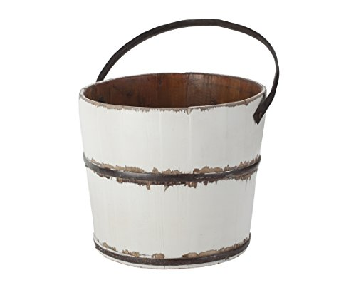 Wooden Round Wash Bucket, White ()
