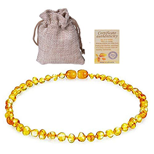 Power Necklaces - Baltic Ambers Teething Necklace For Babies (Unisex) (Lemon) - Anti Flammatory, Natural Certificated Oval Baltic Jewelry 14-33cm - by LuckyNecklaces - 1 PCs