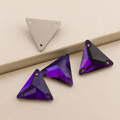Maslin 3270 Triangle DIY Sewing Crystal Strass Sew On Stones Glass Beads Flat Back with Two Holes Buttons for Clothing - (Color: Purple Velvet, Size: 22mm 8pcs) ()