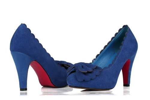 VogueZone009 Womans Closed Round Toe High Heel Spikes Stilettos Tommy Hilfiger Frosted Solid Pumps with Bows, Blue, 4.5 UK