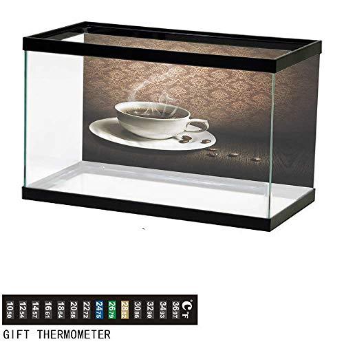 (bybyhome Fish Tank Backdrop Coffee,Hot Mug Wooden Table Damask,Aquarium Background,72