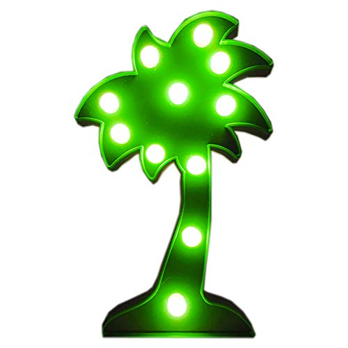 Penxina Coconut Tree Light, LED Coconut Tree Lamp, Cute Night Table Lamp Battery Operated Marquee Light for Kids' Room Bedroom Gift Party Home Wall Decorations -