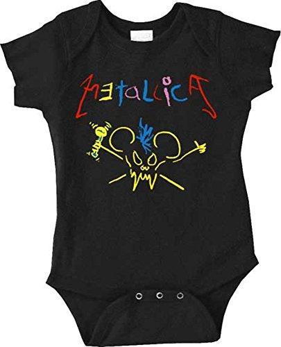 Metallica Crayon Black Newborn Infant Baby Rock And Roll Creeper Romper  6 Months