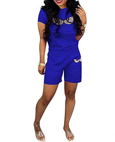 (Remelon Women Short Sleeve Sequin Eyes Patchwork T Shirt Top Bodycon Pockets Shorts Set 2 Piece Romper Outfits Tracksuits Blue XXXL)