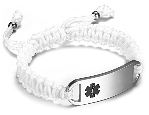 JF.JEWELRY Stainless Steel Medical Alert ID Bracelets for Men Women with Two-Tone Nylon Rope Braided Band (White)