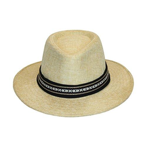 Light Natural Panama Sun Hat, Festival Summer Fedora, 3 Inch Wide Brim, Aztec Band