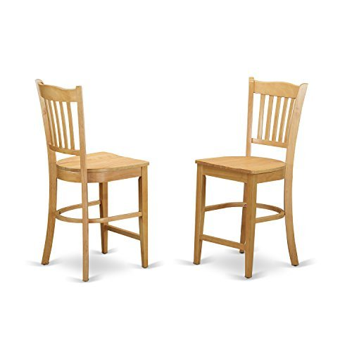 GRS-OAK-W Groton Counter Stools With Wood Seat In Oak finish-Set of 2 - Maple Wood Finish Chair