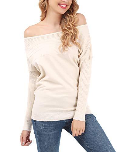 Sweatshirt A S xxl Pullover Donna Beige Spalla Pipistrello Lunghe Bluse Allentato Off Fisoul Elegante Tops Maglione Maglia Manica ED9IWH2