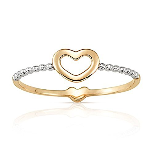 Jewel Connection Dainty Double Sided Stackable Open Heart Ring Band in Real 14K Yellow and Beaded White Gold for Women (4)