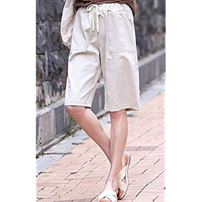 HOW'ON Women's Casual Elastic Waist Knee-Length Bermuda Shorts with Drawstring | Amazon.com