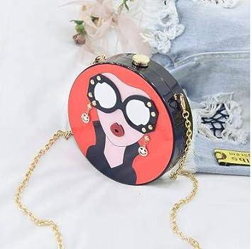 Pnizun - El diseño de Moda de Dibujos Animados Mujer Atractiva acrílico Partido Forma Redonda Bolsa de Embrague ...