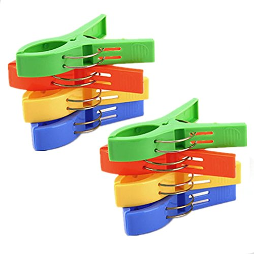 "Otedes 8pcs 4.7"" Durable Large Beach Towel Clips Plastic Clothespins Clothes Pegs Pins Clothes Hanger Clamp"