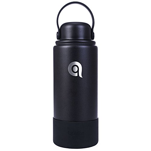 qottle 32oz Vacuum Insulated Stainless Steel Double Walled Thermos Stein Flask Water Bottle, Sport Water Bottle Black Color