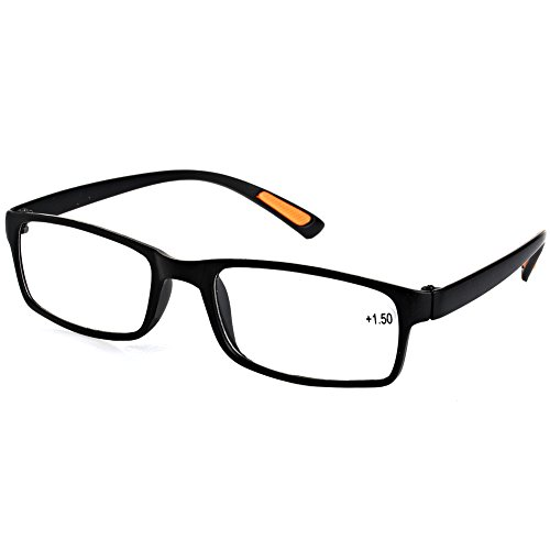 Framed Resin (EA-STONE Timeless Look Resin Framed Reading Glasses Eyeglass with Comfort Arms (2.0x, Black))