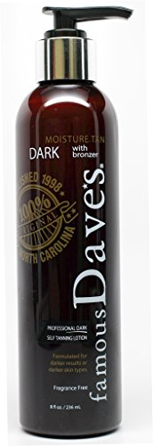 Daves Dark Self Tanner Sunless Tanning Lotion with Bronzer -